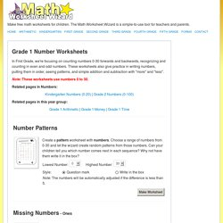 First Grade Number Worksheets << Math Worksheet Wizard
