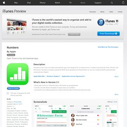 Numbers for iPhone 3GS, iPhone 4, iPod touch (3rd generation), iPod touch (4th generation), and iPad on the iTunes App Store