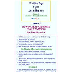 How to read and write whole numbers. Powers of 10