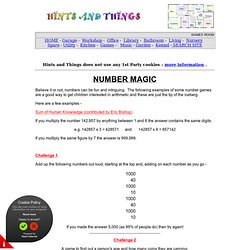 Fun and Games with numbers, number magic, amaze your friends - numbers can be fun