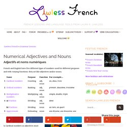 French Numbers - Numerical Adjectives and Nouns