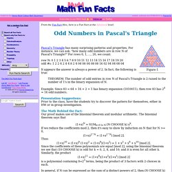 Odd Numbers in Pascal's Triangle