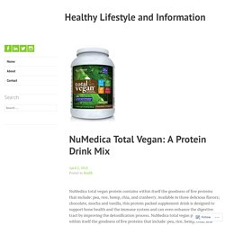 NuMedica Total Vegan: A Protein Drink Mix – Healthy Lifestyle and Information