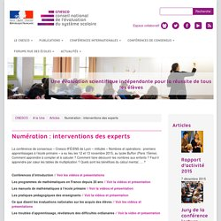 Numération : Interventions des experts