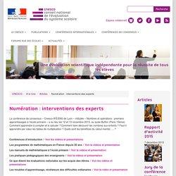 Numération : Interventions des experts