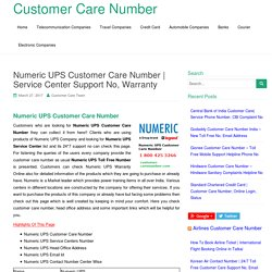 Numeric UPS Customer Care Number