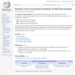 Dynamic errors of numerical methods of ODE discretization