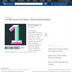 Let Me Count the Ways: 10 Numerical Idioms