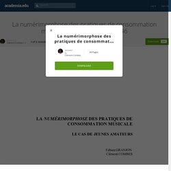 La numérimorphose des pratiques de consommation musicale, Réseaux, 6-7/145-146