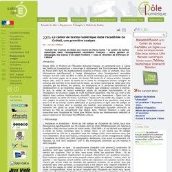 Le cahier de textes numérique dans l'académie de Créteil, une première analyse