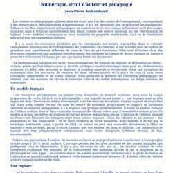 Numérique, droit d'auteur et pédagogie