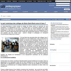 Rapport de recherche sur le dispositif Collèges « tout numérique » en Seine-Saint-Denis-Fév.2016