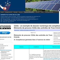 C2i2e : un exemple de dossier numérique de compétences (DNC) - Éléments de preuves C2i2e des activités de Yvan Crévits