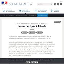 Le numérique à l'école - Compte rendu du conseil des ministres du 19 mars 2015