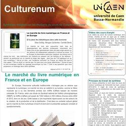 Le marché du livre numérique en France et en Europe (Culturenum - U. Caen - Notes de synthèses par les étudiant-e-s)