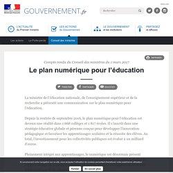 Le plan numérique pour l'éducation - Compte rendu du Conseil des ministres du 1 mars 2017
