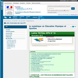 le numérique en Éducation Physique et Sportive — EPS