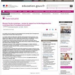 Réussir l'école numérique - Ministère de l'Education nationale