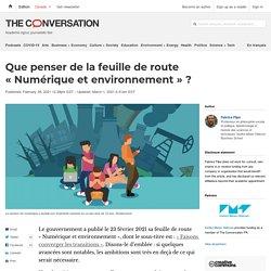 Que penser de lafeuille de route «Numérique et environnement»?