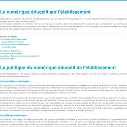 Le numérique éducatif sur l'établissement - Piloter et mettre en oeuvre le numérique - DANE Nice