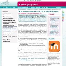 Les usages du numérique et de l'ENT en Histoire-Géographie - Histoire-géographie