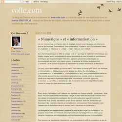 «Numérique» et «informatisation»