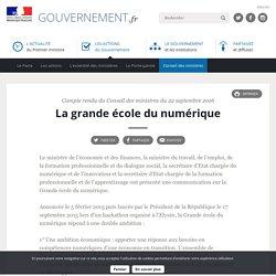 La grande école du numérique - Compte rendu du Conseil des ministres du 22 septembre 2016