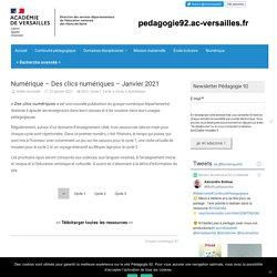 Numérique – Des clics numériques – Janvier 2021 – Pédagogie 92