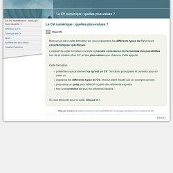 Cours : Le CV numérique : quelles plus-values ?
