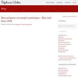 Bien préparer son projet numérique - Bizz and Buzz 2016 - Stéphanie Walter : webdesign et mobile, UX et UI design
