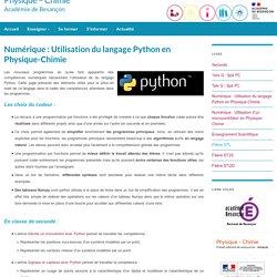 Utilisation du langage Python en Physique-Chimie (Acad. Besançon)