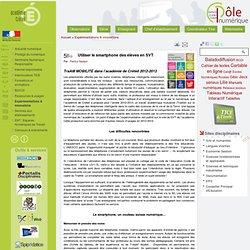 Pôle Numérique - Utiliser le smartphone des élèves en SVT