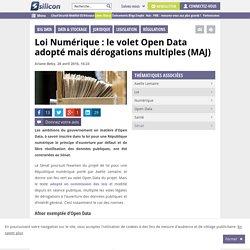 Loi Numérique : le volet Open Data adopté mais dérogations multiples (MAJ)