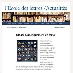 Gloser numériquement un texte - Les actualités de l'École des lettresLes actualités de l'École des lettres