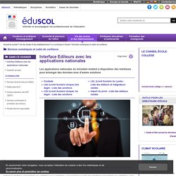 Services numériques et cadre de confiance - Interface Editeurs avec les applications nationales