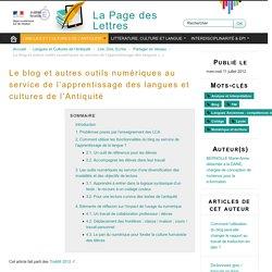 Le blog et autres outils numériques au service de l'apprentissage des langues et cultures de l'Antiquité