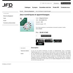 Jeux numériques et apprentissages - Éditions JFD