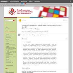 Humanités numériques et analyse des controverses au regard des SIC