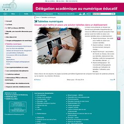 Tablettes numériques - Délégation académique au numérique éducatif