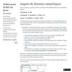 Import de données numériques — Documentation Python pour la SPC au lycée 1.0.1