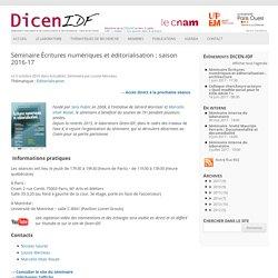 Séminaire Écritures numériques et éditorialisation : saison 2016-17