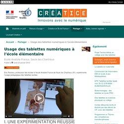 Usage des tablettes numériques à l'école élémentaire - Créatice
