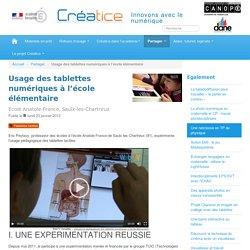 Usage des tablettes numériques à l'école élémentaire