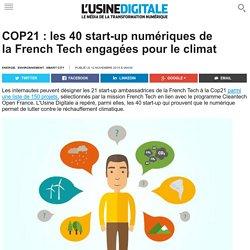 COP21 : les 40 start-up numériques de la French Tech engagées pour le climat