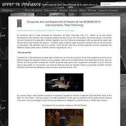 Ce que les arts numériques font à l'histoire de l'art #2 [BIAN 2012 : Instrumentation, Peter Flemming]