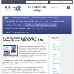 SII-Technologie collège - Créer des livres numériques et interactifs avec DIDAPAGES et PSD