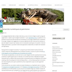 Humanités numériques et patrimoine
