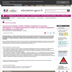"""Lancement des appels à projets """"collèges numériques et innovation pédagogique"""" et """"collèges numériques et ruralité"""""""