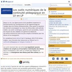Ac-Poitiers_LP Anglais _Les outils numériques de la continuité pédagogique en LV