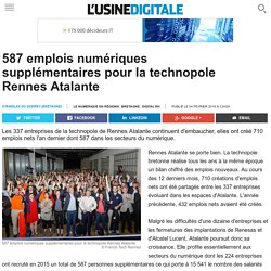 587 emplois numériques supplémentaires pour la technopole Rennes Atalante